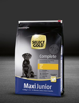select gold complete maxi junior huhn beutel trocken 320x417px
