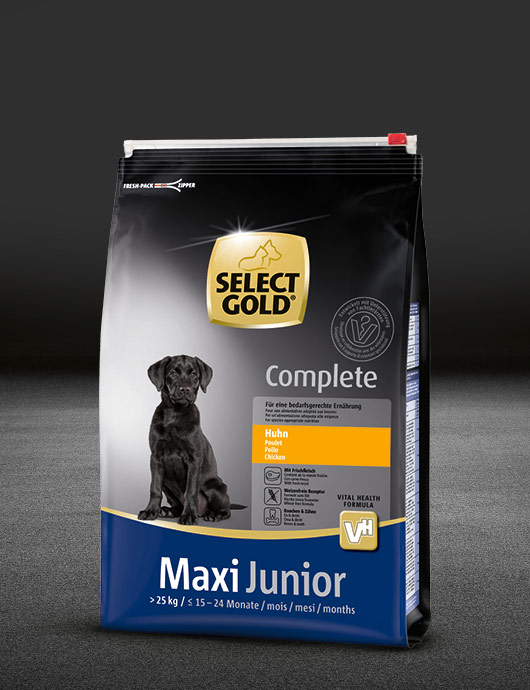 select gold complete maxi junior huhn beutel trocken 530x890px