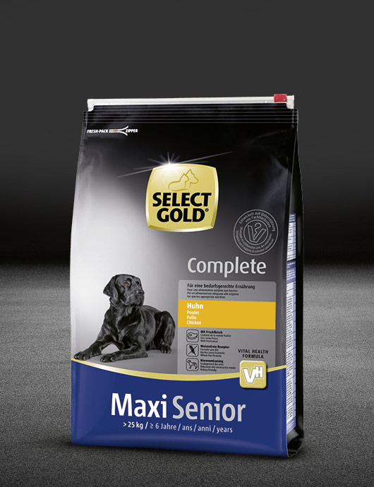 select gold complete maxi senior huhn beutel trocken 530x890px