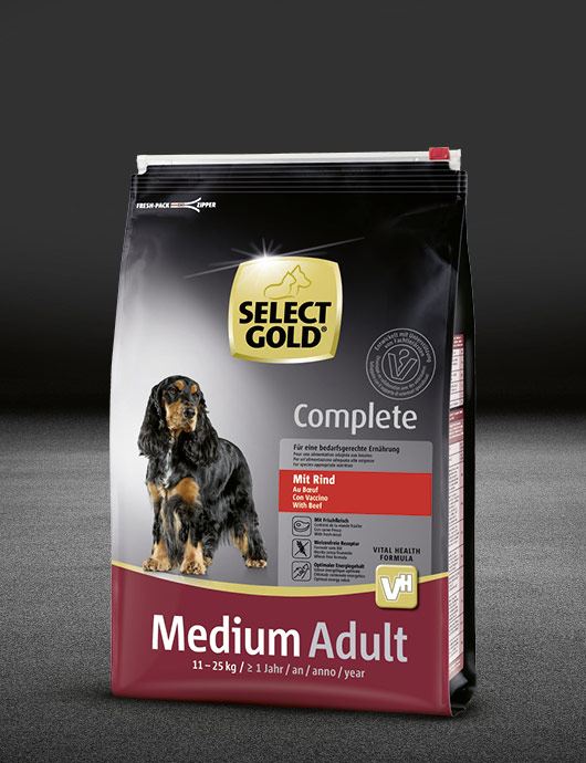 select gold complete medium adult mit rind beutel trocken 530x890px