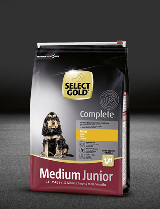 select gold complete medium junior huhn beutel trocken 320x417px