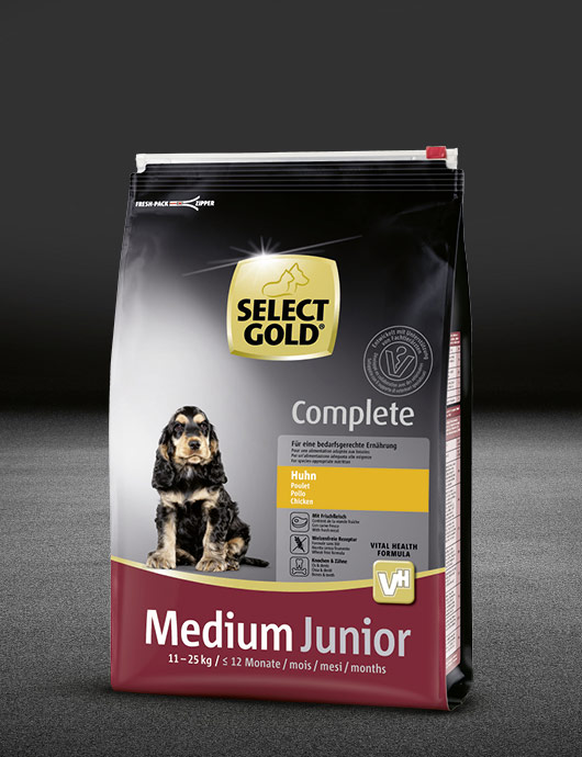 select gold complete medium junior huhn beutel trocken 530x890px