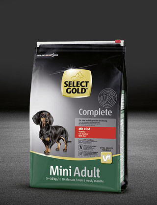 select gold complete mini adult mit rind beutel trocken 320x417px