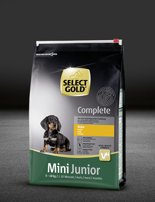 select gold complete mini junior huhn beutel trocken 530x890px