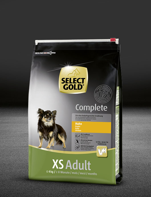 select gold complete xs adult huhn beutel trocken 530x890px