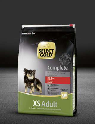 select gold complete xs adult mit rind beutel trocken 320x417px