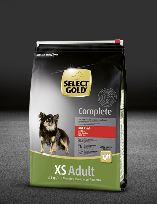 select gold complete xs adult mit rind beutel trocken 530x890px