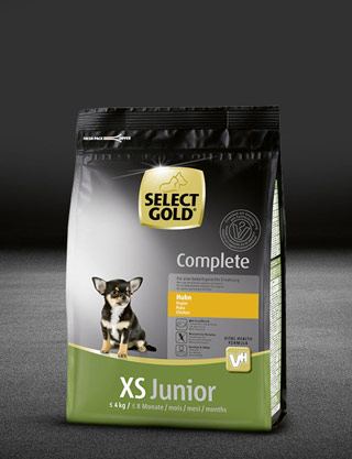 select gold complete xs junior huhn beutel trocken 320x417px