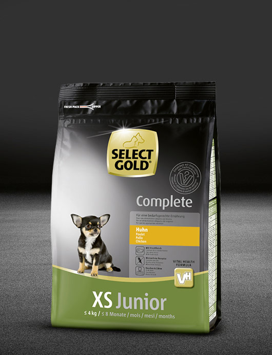 select gold complete xs junior huhn beutel trocken 530x890px