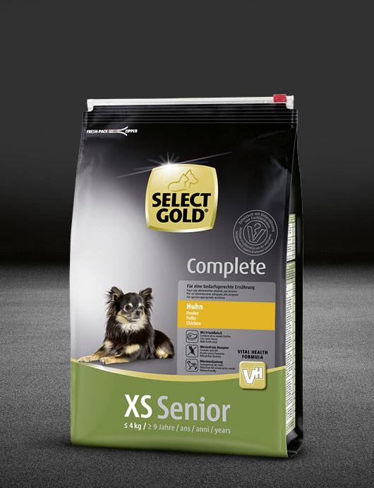 select gold complete xs senior huhn beutel trocken 530x890px