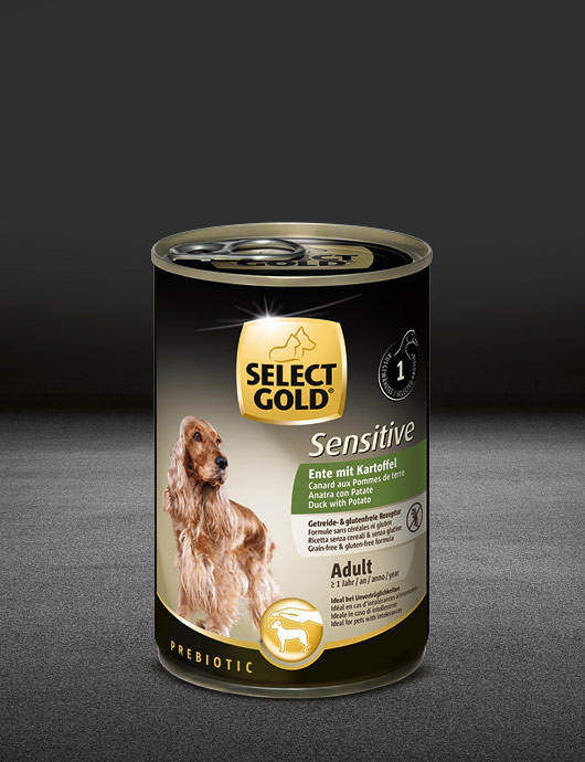 select gold sensitive adult ente mit kartoffel dose nass 530x890px