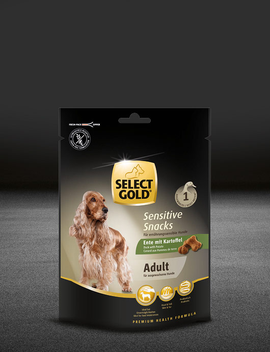 select gold sensitive adult snacks ente mit kartoffel snacks snacks 530x890px