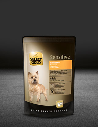 select gold sensitive adult huhn mit reis pouch nass 320x417px