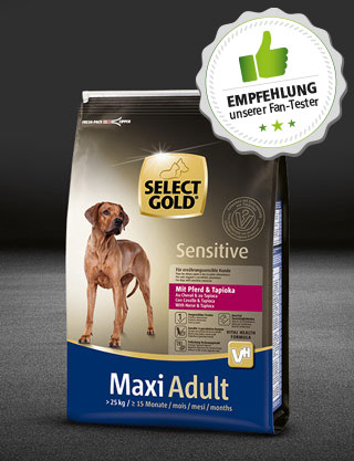 select gold hund adult maxi sensitive pferd tapioka 4kg 320x417 fantester