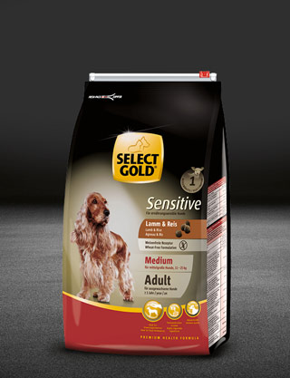 select gold sensitive medium adult lamm und reis beutel trocken 320x417px