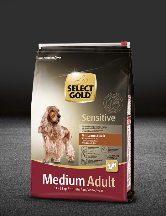select gold sensitive medium adult lamm und reis beutel trocken 530x890px