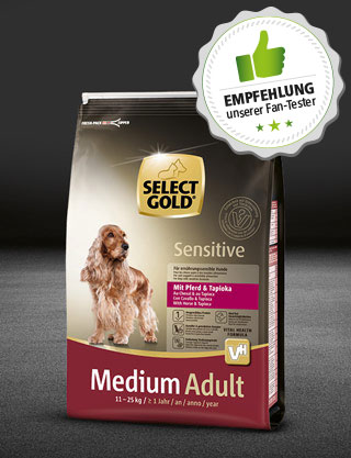 select gold hund adult medium sensitive pferd tapioka 4kg 320x417 fantester