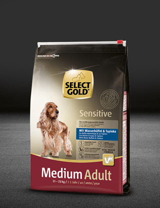 select gold sensitive medium adult mit wasserb%C3%BCffel und tapioka  beutel trocken 320x417px