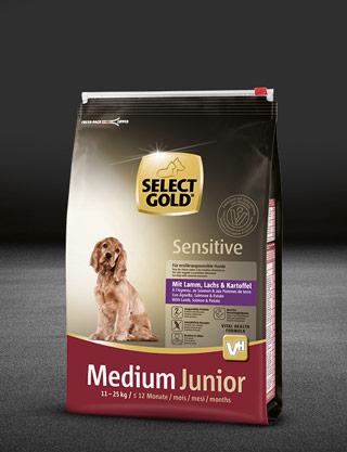select gold sensitive medium junior mit lamm%2C lachs und kartoffel beutel trocken 320x417px