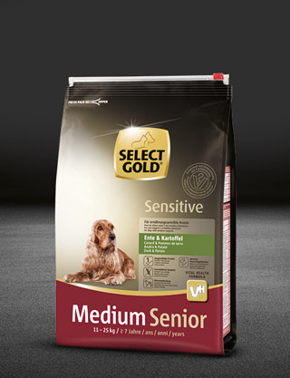 select gold sensitive medium senior ente und kartoffel beutel trocken 320x417px