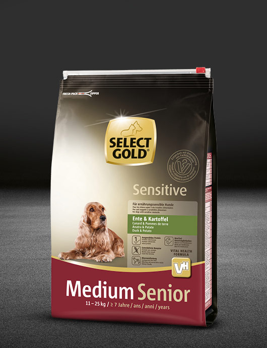 select gold sensitive medium senior ente und kartoffel beutel trocken 530x890px