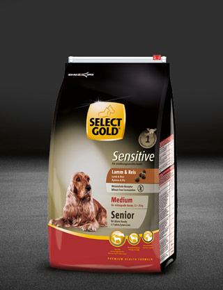 select gold sensitive medium senior lamm und reis beutel trocken 320x417px