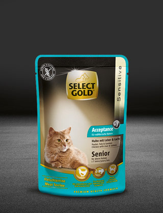 select gold acceptance senior huhn mit leber und lachs pouch nass 320x417px