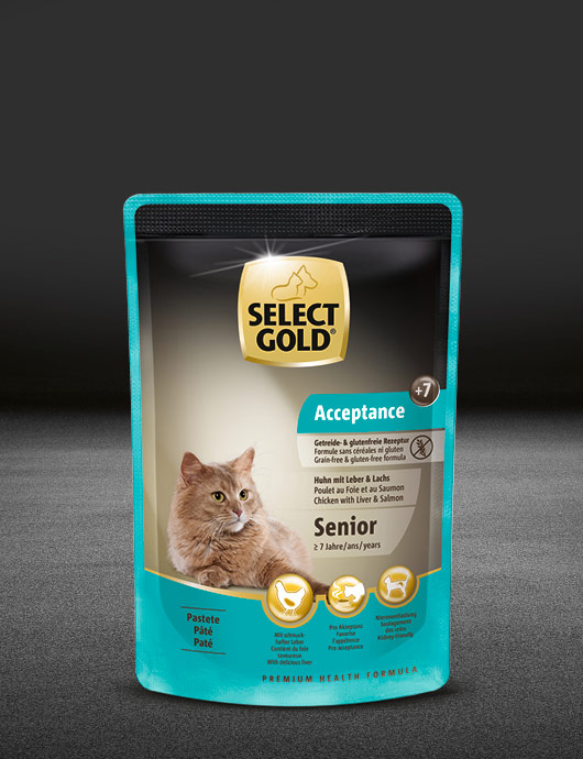 select gold acceptance senior huhn mit leber und lachs pouch nass 530x890px