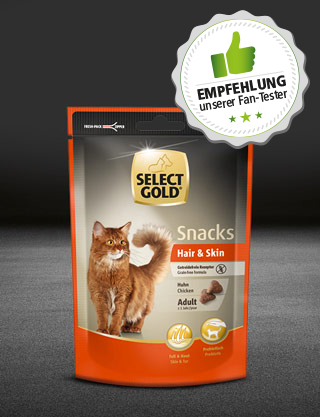 select gold fantester katze adult beduerfnisse hair skin huhn snack 75g 320x418