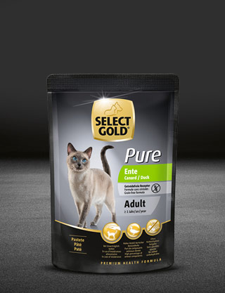 select gold pure adult ente pouch nass 320x417px