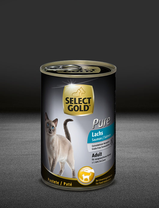 select gold pure adult lachs dose nass 530x890px