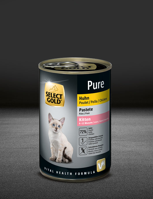 select gold pure kitten huhn dose nass 530x890px