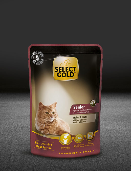 select gold senior plus12 huhn und lachs pouch nass 530x890px