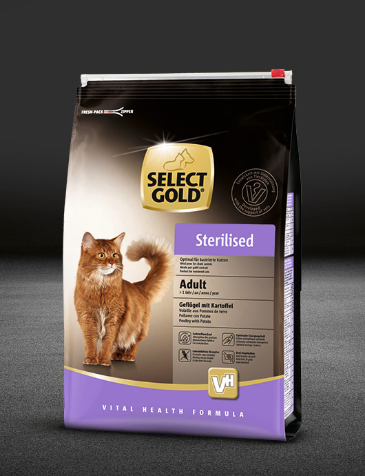 select gold sterilised adult gefl%C3%BCgel mit kartoffel beutel trocken 530x890px